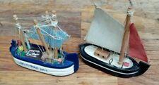 2 Small Handmade Wooden Boats