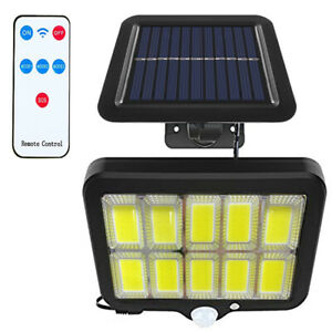 160 COB Solar PIR Motion Sensor Garden Wall Light Security Flood Light Outdoor