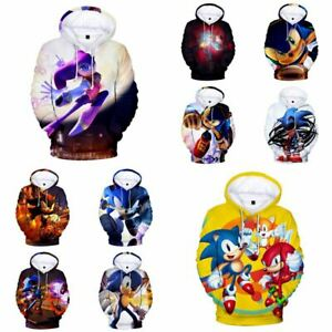 Kids 3D Print Sonic the Hedgehog Hoodie Children Pullover Hooded Tops Sweatshirt