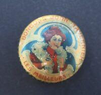 Boite publicitaire BONBONS JOHN TAVERNIER élégante coquelicot old french box