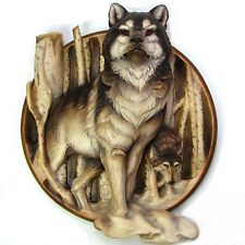 Wolves - 3D Wood Carved Plate Woodcarving Art Wall Decor Trophy Plate