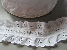 White Cotton Double Ruffle Eyelet Lace 6cm Crafts/Costume/Larp/Sewing