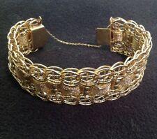 """Spectacular Ornate Woven Chain 14K Gold Bracelet 8.1/4""""x 1-1/8"""" 62g"""