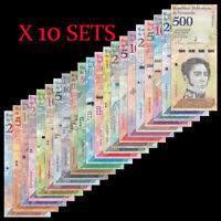 Lot 10 X Set 21pcs, Venezuela 2-100,000 Bolivares, 2-500 Soberanos, UNC