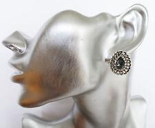 Gorgeous Teardrop Grey Diamante Stud Earrings  in Antiqued Silver Tone Loops
