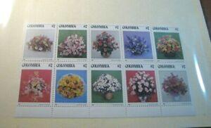 Foreign Souvenir Sheet Colombia Scott# 900a Floral Bouquets 1982 MNH H97
