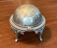 Antique Silverplate Butter or Caviar Dish with Rotating Cover