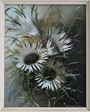 Porzellanmalerei F. Schmidbauer Handmalerei Rosenthal Silberdisteln gerahmt xz