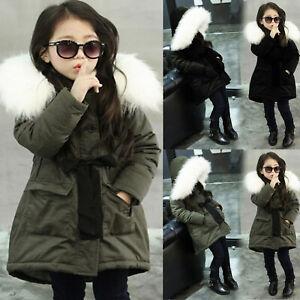 Baby Girl Army Green Fur Hooded Jacket Padded Long Coat Thick Warm Jacket Parka