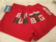 Soffe Cheerleading Lounge Christmas Shorts  Bah Hum Bug Red Size x large