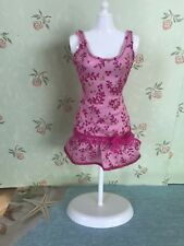 Barbie Doll Clothes Fashions Pink Glitter Print Lace Bow Dress