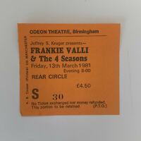 Frankie Valli & Four Seasons 13 March 1981 Birmingham Odeon concert ticket stub