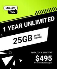 Straight Talk Refill 365 Days 25 GB 4G Data per month Prepaid USA