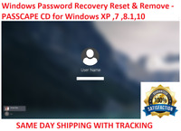 Windows XP, VISTA, 7, and 8  10 Password Recovery Reset Remove Recover CD Disc