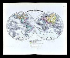 1877 Vuillemin Map - World Hemispheres - Division of Human Species - Ethnic Race