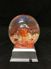 Glass Paperweight With Red flowers With Led 4 Light Base