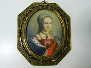 ANTIQUE 1800's FRENCH LADY PORTRAIT MINIATURE PAINTING SIGNED NATTIER OLD FRAME
