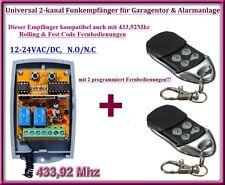 Funkempfänger SET 433,92Mhz 12-24V + 2 Fernbedienung für Garagentor, torantriebe