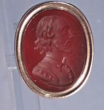 # Victorian Gold cased watch chain fob carnelian intaglio seal of Shakespeare ""