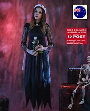 Women Fancy Halloween Vampire Black Corpse Bride Lace Long Dress Costume