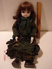 SANKYO PORCELAIN HEAD DOLL SOFT CLOTH BODY BROWN HAIR EYES GREEN DRESS CLOTHING
