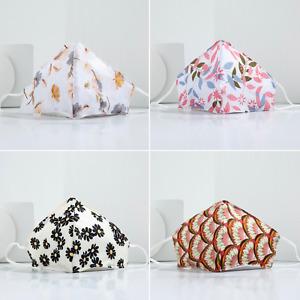 Silk Printed Face Masks: Adjustable Protective Washable - UK Seller