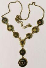 collier rétro émail cristal couleur bronze pampille * 3706