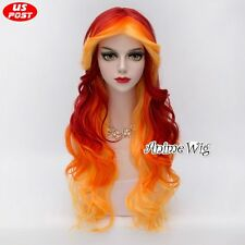 75CM Long Yellow Red Mixed Orange Curly Hair Lolita Halloween Women Cosplay Wig