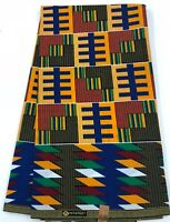 African KENTE Print /African Print Fabric; BLUE & MULTI-COLOR, 6 Yards
