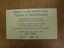 03/06/1992 Tennis ticket: ligne directe d'assurance Tennis [à Beckenham Cricket Clu