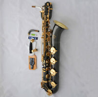 Newest TAISHAN Baritone Saxophone Black nickel Bari Sax Gold BELL Low A Key+Case