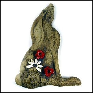 Large Sculptural Hare Plaque With Poppies and Daisies (Ears Down) Zoo Ceramics