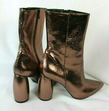 NEW $485 Strategia Glitter Effects Rose Gold Crackle Leather Ankle Boots Sz 40