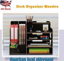 Large Wood Desk Organizer Mail Holder Office Supplies Storage Multi functional