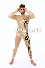 Neck Entry Man Sexy Transparent Rubber Catsuit Striped Tight Fit Latex Bodysuit