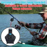 Fishing Rod Bite Alarm Black Alert Bell Clip On Fishing Rod Portable Attachment