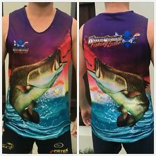 New Killer Barramundi Fishing Singlet. All Mens Sizes From XS Up To 3XL