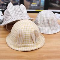 Children Bucket Hat Plaid Printing Rabbit Ear Brim Cap Fashion Camping Hats D