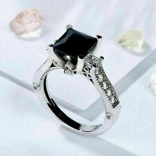 2.76Ct Princess Cut Black Diamond Ladies Engagement Ring in Real 14K White Gold