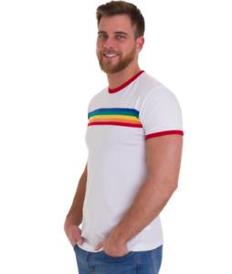 New 60's/70's vintage retro mod style White rainbow striped across chest t shirt