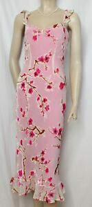 Cocktailkleid 36 Seide Samt rosa Kirschblüten Blumen Hochzeit Abend Monsoon