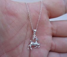 925 STERLING SILVER DESIGNERS REINDEER  PENDANT NECKLACE/ 1'' BY 5/8''/ 18''