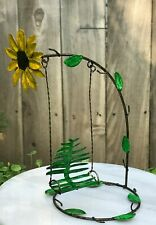 Miniature Dollhouse FAIRY GARDEN ~ Mini Metal GATHERED Flower Bench Swing