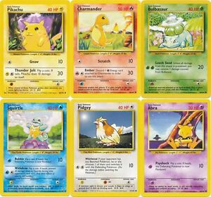 Pokemon Base set common ALL cards Pikachu Squirtle Bulbasaur Charmander - CHOOSE