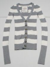 Hollister Womens XS White/ Gray Striped Cotton Blend Cardigan Sweater