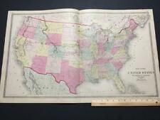 "1872 MAP UNITED STATES, ""LEWIS & CLARK & HELL'S GATE PASS"" WARNER BEERS,RAILROAD"