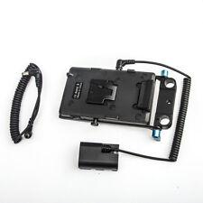 V-lock V-mount Power Plate+LP-E6 Dummy Battery+15mm Rod Clamp for Canon 5D 7D II