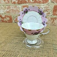 Vintage Hand Painted Lefton China pattern 1798 Purple flowers cup and saucer
