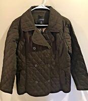 Lands End Women's Black Quilted Jacket Pea Coat SZ M 10-12             J1