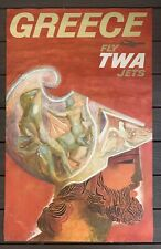 Vtg 1960s David Klein FLY TWA JETS Greece TRAVEL POSTER 40 X 25 ORIGINAL